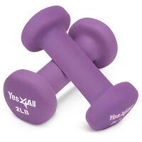 2 Lbs Neoprene Coating Dumbbells Pair (Total 4 Lbs) Hex Hand Weights Home Gym