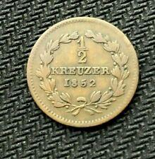 1852 German States Baden 1/2 Kreuzer Coin Circ.     MINTAGE 227K     #C640