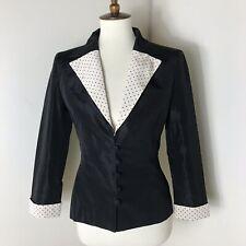 Balmain Paris Silk Blazer Size 38 Black Polka Dot Trim Jacket