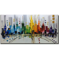 Wall art Hand Painted Cityscape 3D ART Oil painting on canvas unframed 24x48inch