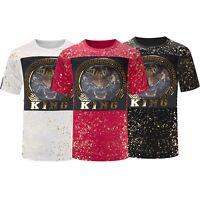 New Men Tiger King Paint Splattered Embossed T-Shirt Gold Foil Tribal Print S-2X