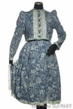 VINTAGE Czech folk costume Chodsko blue cotton paisey ethnic print retro Bohemia