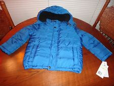 CALVIN KLEIN~Kids Boys~Girls~Toddler Blue Black Winter Puffer Jacket~Hood~Sz 4T