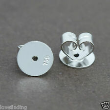 Genuine 18CT Solid White Gold Disc Butterfly Earring Backs 7mm - 1 Pair