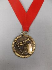 Music drum and horn gold medal award red neck drape