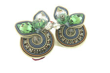 DORI CSENGERI Glitteratti Green Swarovski Couture Clip Ear- Leather Backed- NEW!