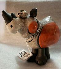 Rare Rhinoceros, Rhino, Handmade South Africa, Crazy Clay by Raku New