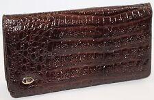 PIERRE CARDIN Brown Croc Embossed Convertible Clutch Shoulder Bag Vintage