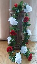 Rosengirlande bordeaux /weiß ca.250 cm   Seidenblumen