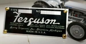 Ferguson Implement 1948-53 USA Plough ID Identification Metal Chassis Plate