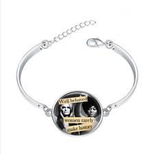 Feminist  glass cabochon Tibet silver bangle bracelets Fashion