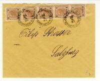 Austria Levant cover   Constantinopel 30.8. 1892 strip 2 kr overprint  8 para