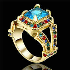 Main Stone - Uk Size 6 Gold Costume Ring with Blue Crystal