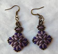 Purple Antique Look Dangle Earrings. Handmade. One of a Kind.