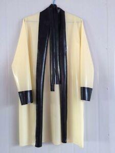 Latex Gummi Oberteil Sexy Weiß Schwarz Cosplay Lang Sleepwear Mantel S-XXL 0.4mm