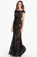 Tadashi Shoji Textured Lace Mermaid Gown Dress BLACK  Size  16