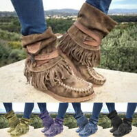 Winter Fashion Womens Fringe Style Retro Ankle Boots Tassel Flat Shoes Plus Size