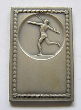 f812 Romania Spear Throwing 1930's Olympic Naked Man Medal Sports Silvered medal