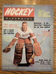 1966 MARCH Hockey Pictorial Magazine Roger Crozier, Detroit Red Wings Vintage
