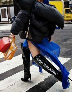 $3071 Designer OFF WHITE Women's Black Patent 'for Walking' Over-the-knee Boot 9
