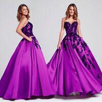 Chic Ballkleid Abendkleid Gala Partykleid Spitze Party Kleid Lila/Schwarz BC562L