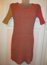 LA FEE MARABOUTEE knit geometric op very stretchy multicolored sweater dress M