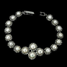 Sterling Silver White Pearl Genuine Natural and Marcasite Bracelet 7 1/2 Inch