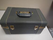 Vintage Blue Crown Train Case Tray Mirror - Cosmetics  Makeup Train Case Luggage