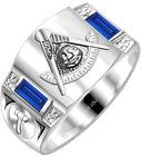 Mens Customizable 0.925 Sterling Silver Masonic Freemason Mason Past Master Ring