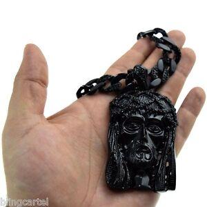 """Men's Black Jesus Hip Hop Chain Face Head Charm Iced Pendant 30"""" Cuban Necklace"""