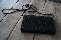 alte Perlenhandtasche Abendtasche Perlenstickerei schwarz antik TOP Zustand