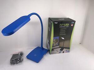 Blue LED Desk Lamp 3 Level Touch Dimmer, Built-in USB Port, Charging Adjustable