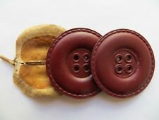 1950 Vintage Huge Couture Leather Dk Maroon Coat Jacket Replacement Buttons-40mm