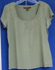 Trendy TOP Army GREEN w; Bling by LENA JEANS w. V- Neckline Sz L Cotton WASHABLE