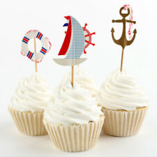 24pcs Anchor Flag Pick Toppers Cake Decor Wedding Anniversary Party Supply