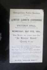 1894 VICTORIA HALL BAYSWATER METROPOLITAN PUBLIC GARDENS ASSOCIATION PROGRAMME
