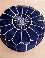Moroccan Genuine Leather Boho Pouf Ottoman Footstool Pouffe  FLORIDA BLUE