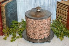 Rare Antique English Biscuit Barrel Silver Plated Polished Granite Footed