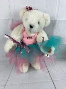 Vtg. Vermont Teddy Bear Co. Tooth Fairy Bear Ballerina Pink Aqua TuTu Soft  90's