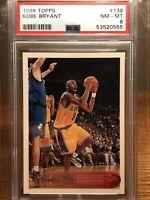 1996-97 Topps #138 Kobe Bryant RC Rookie Card PSA 8 HOF Lakers RECENTLY GRADED!