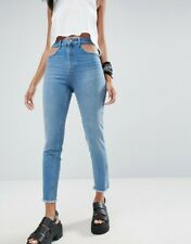 ASOS Farleigh Slim Mom Jeans 30 Cut Out Details High Waist Prince Mid Wash