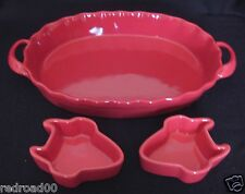 """Red Serving Casserole Dish w/Handles BIA Vintage 12"""" Oval an<d"""