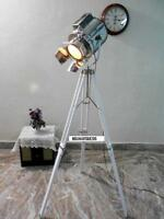 Nautical SPOT LIGHT Vintage Industrial Antique white Tripod Floor LAMP