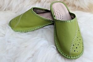 WOMENS LADIES REAL NATURAL & ECO LEATHER GREEN SLIPPERS HIGH QUALITY