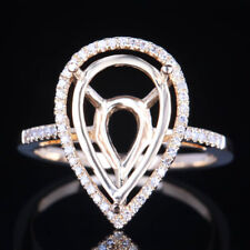 Pear 14x9mm Semi-Mount Solid 10K Yellow Gold Engagement Diamond Halo Ring