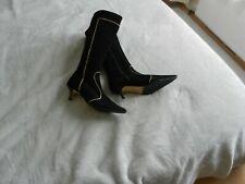 Lk Bennett Black Suede Knee High Stiletto Boots Size 7 EUR 40 Brand New