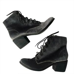 Dolce Vita Velvet Boots Booties 8 Grey Lace Up Excellent worn 1x Shoes