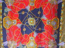 "Sevini Silk Scarf Shawl Wrap Handrolled Edges Jewels Blue Red Germany 34"" - 86cm"