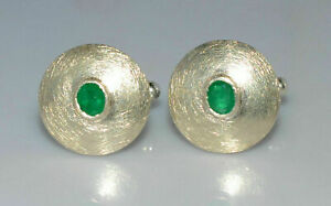 Solid 925 Sterling Silver Men's Cufflink in Oval Shape Emerald Gold Plated