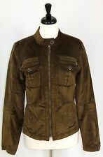 Tribal Brand Jacket 14 Stretch Corduroy Stand Up Collar Full Zip Brown